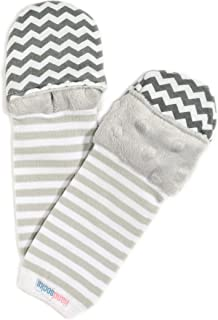 Handsocks Plushy Stay On Strap-Free No-Scratch & Warmth Baby & Kid Mittens (Small (0-6 Months. Bicep Size Should be 4.5'-6.5'), Felix(Grey/Foxes))