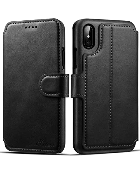 wholesale dealer 13a42 f9042 iPhone X Case, iPhone X Wallet Case, iPhone X Leather Case, Pasonomi [Slim  Fit] Vintage Flip Case Cover with Stand Function & Credit Card Slots for ...
