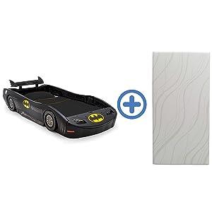 DC Comics Batman Batmobile Car Twin Bed & 6-inch Memory Foam Twin Mattress by Delta Children