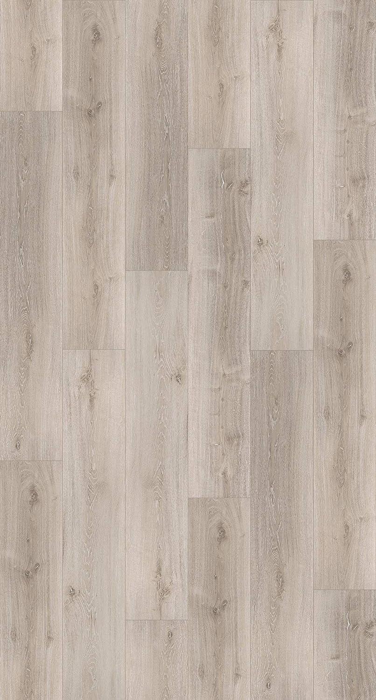 PARADOR Klick Elastischer Bodenbelag Vinyl Basic 5.3 Eiche Memory Natur Landhausdiele geb/ürstete Struktur Fuge 2,176m/² hell grau-wei/ß einfache Verlegung 5,3mm