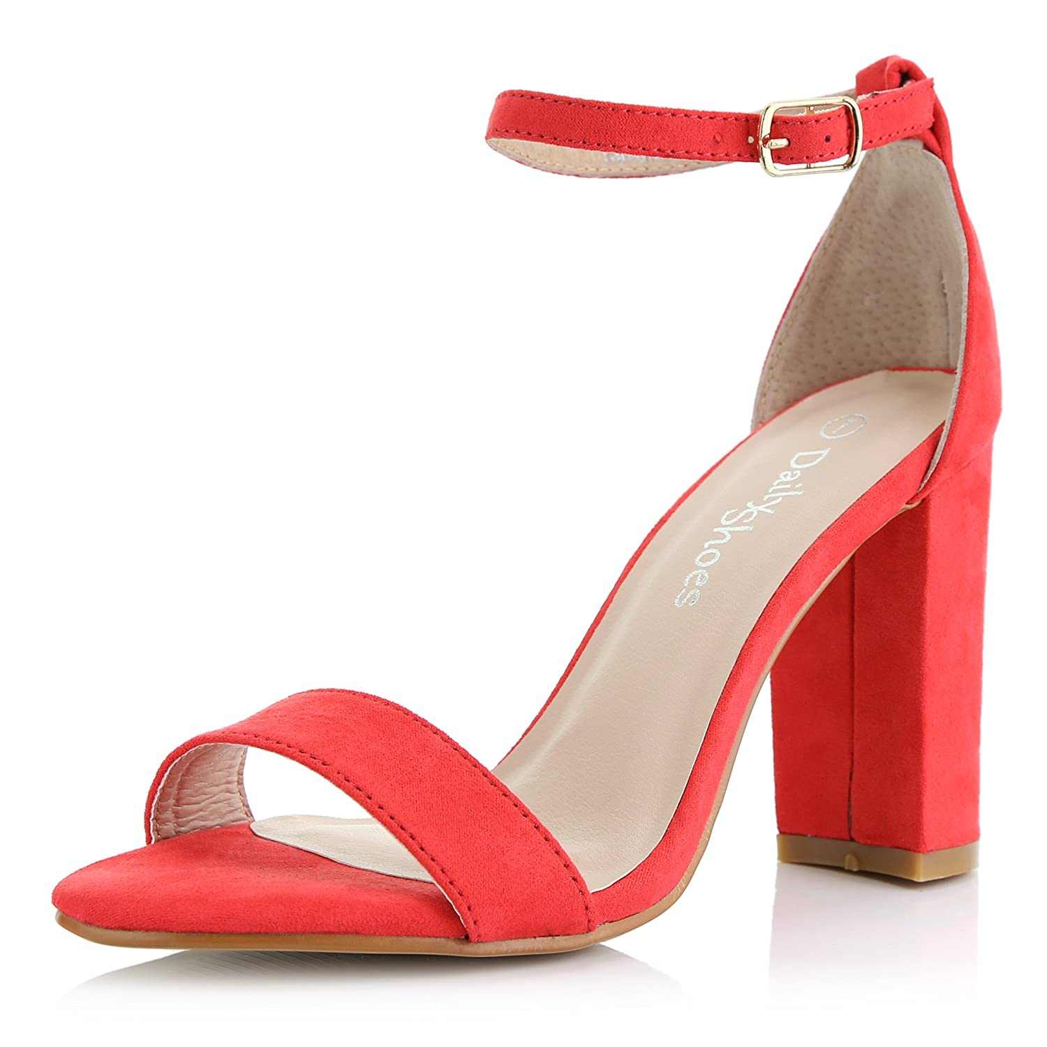 Chunky Toe Ankle With Heel Wedding Pumps Sandal Strap Evening Dailyshoes Buckle Shoes Open Party Women's mwvN80PyOn