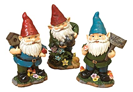 Set Of 3 Darling Little Gnome Garden Figurines Each Holding Gardening Tools  ~ Resin (Set