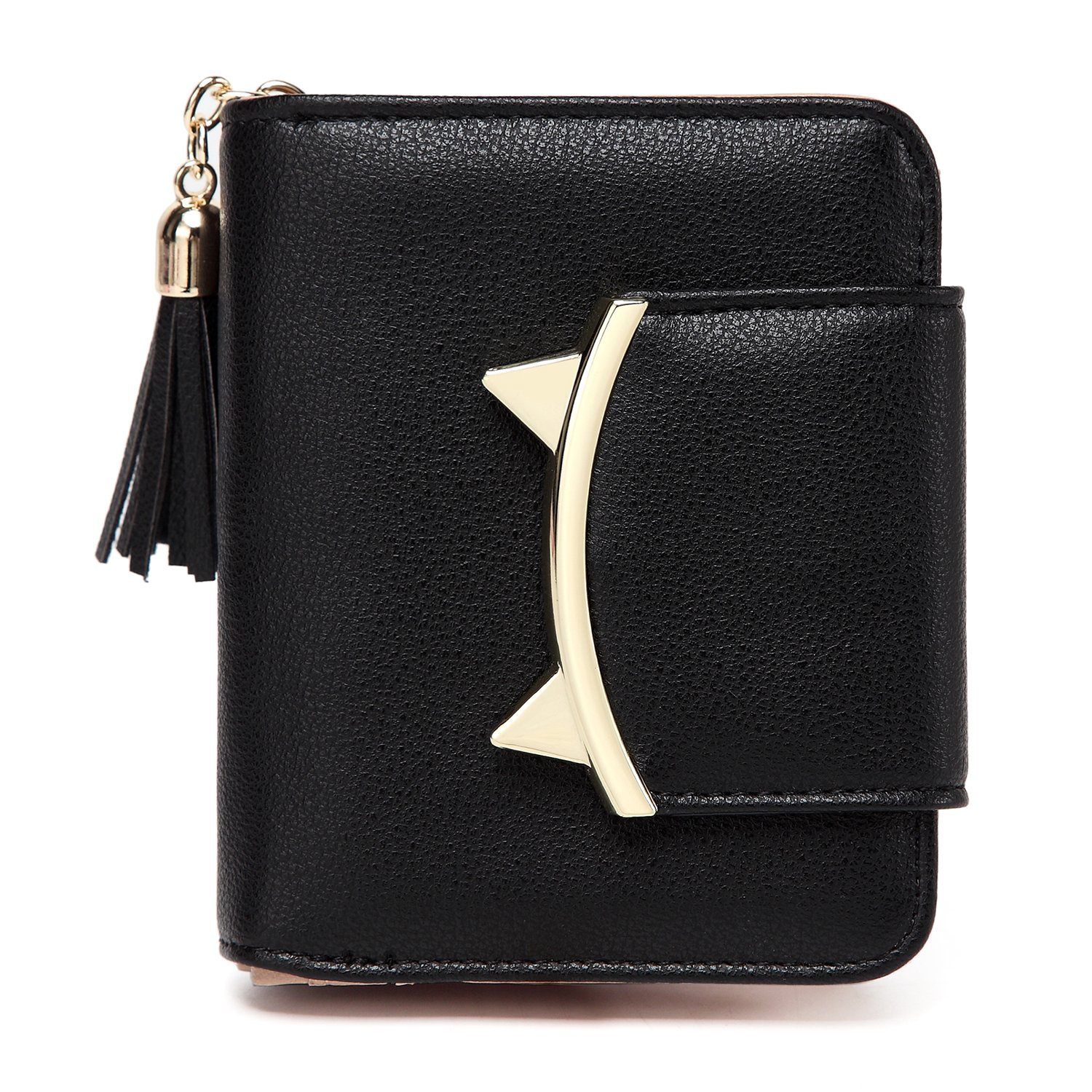 Women Cute Cat Mini Wallets Design Coin Purse Leather Tassel Wallet AM02_Black