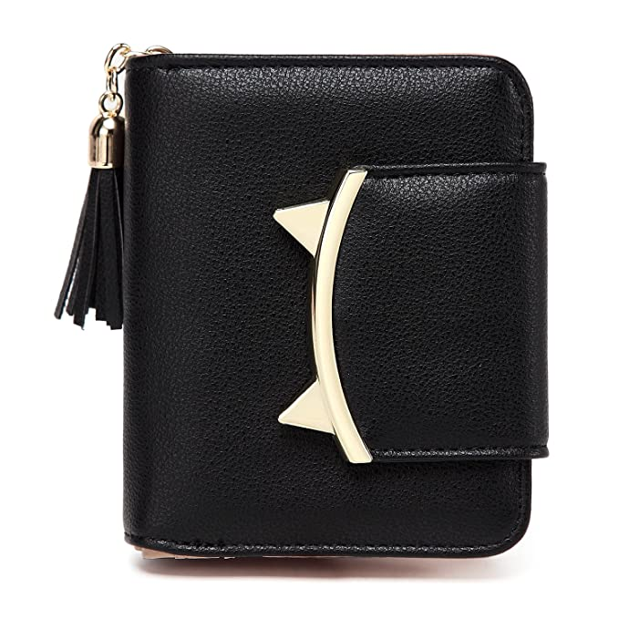 ee546a8dade0 Women Cute Cat Mini Wallet Design Coin Small Purse leather Wrist Strap ( black)