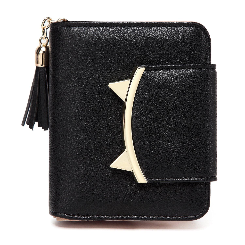 Women Cute Cat Mini Wallet Design Coin Purse leather Wrist Strap (black)