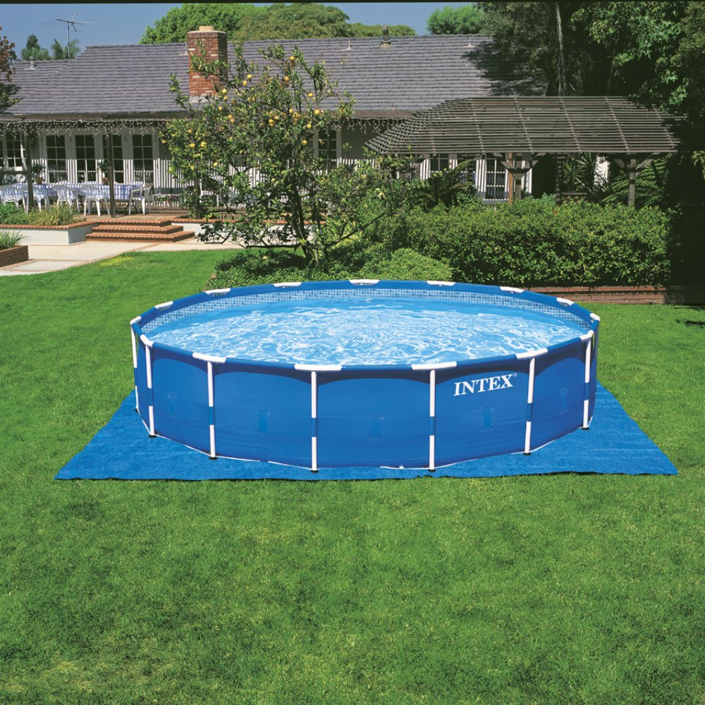 amazoncom intex 18ft x 48in metal frame pool set with filter pump ladder ground cloth pool cover garden outdoor