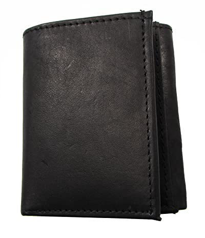 Durable Mens Trifold Wallet Black Cowhide Leather 12 Credit Card Slots Zipper Coin Pouch Campus Market