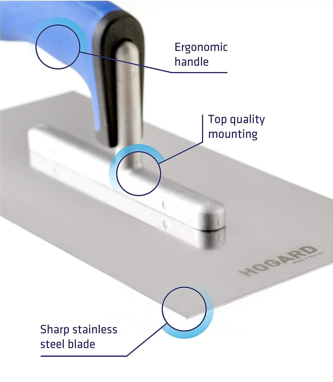10.6 x 5.1 inch HOGARD Cazzuola per Stucco in Acciaio Inox 270 x 130 mm Pro Frattazzo per Colla con Manico Morbido Made in EU