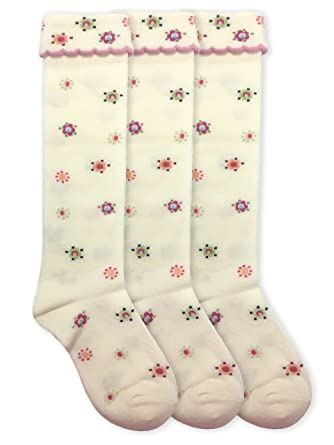 bf0e7e70b53 Jefferies Socks Girls Fashion Cotton Knee High 3 Pair Pack (Sock Size 7-8.5