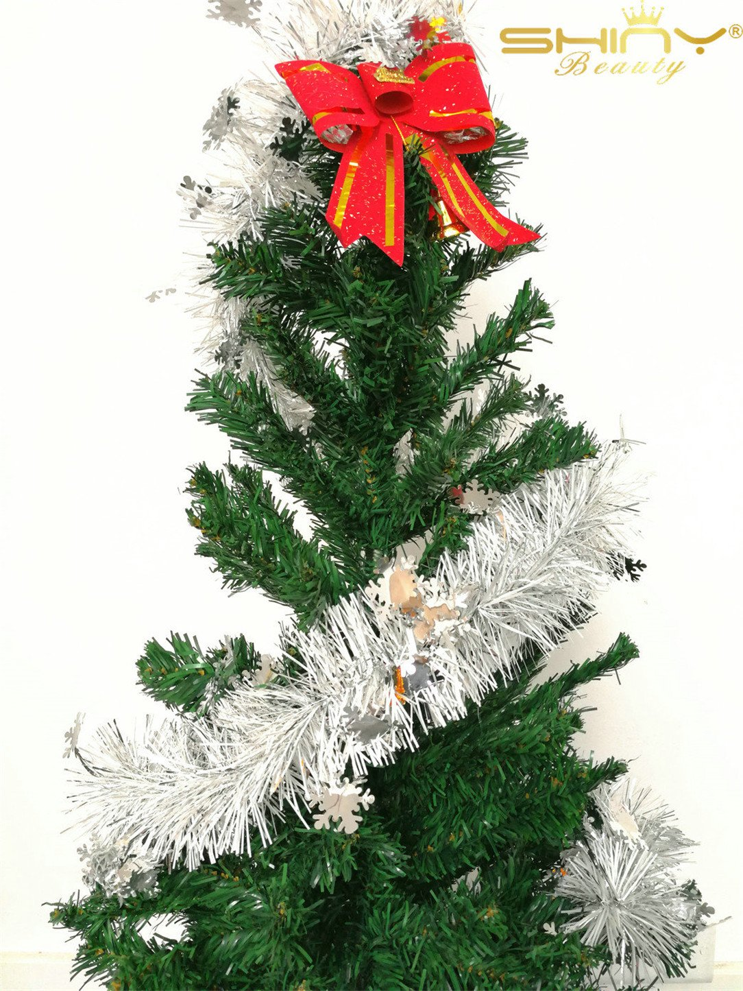 DUOBAO Christmas Tinsel Garland-Silver Snow,Sparkly Classic Party Ornaments Hanging Xmas Tree Ceiling Decorations, 15 Packs 6.6 Ft (2M) x 3.4 inch Wide~1024S