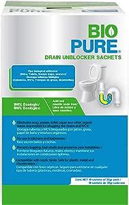 Biopure - Drain Unblocker Sachets - Destapacaños - Destapa tuberías biológico y tratamiento preventivo para WC's - Ideal para coladeras, WC's, trampas de grasa y alcantarillas - Compatible con fosas sépticas y cualquier tipo de tubería (10 piezas)