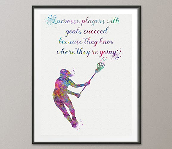 Lacrosse Girl Player Quote Watercolor Posters Art Prints Wall Decor Artworks Dining Room