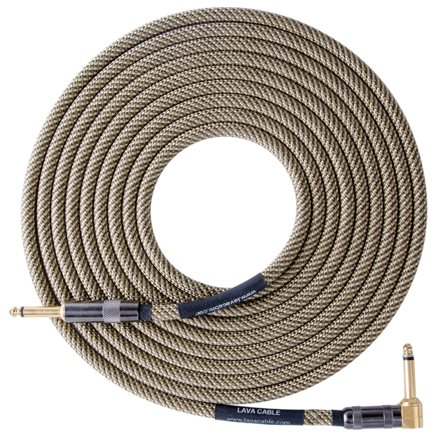 Lava Cable Vintage Tweed 10 ft Straight to Right Angle