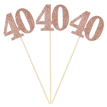 24 adornos para cupcakes de oro rosa con purpurina, número ...