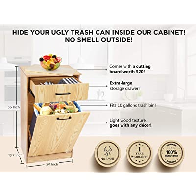 Buy Tilt Out Trash Bin Cabinet Hidden Trash Can Cabinet Wooden Trash Can Holder For Kitchen With Removable Cutting Board Storage Drawer Sturdy Large Indoor Wood Cabinet Fits Garbage Can Upto 10