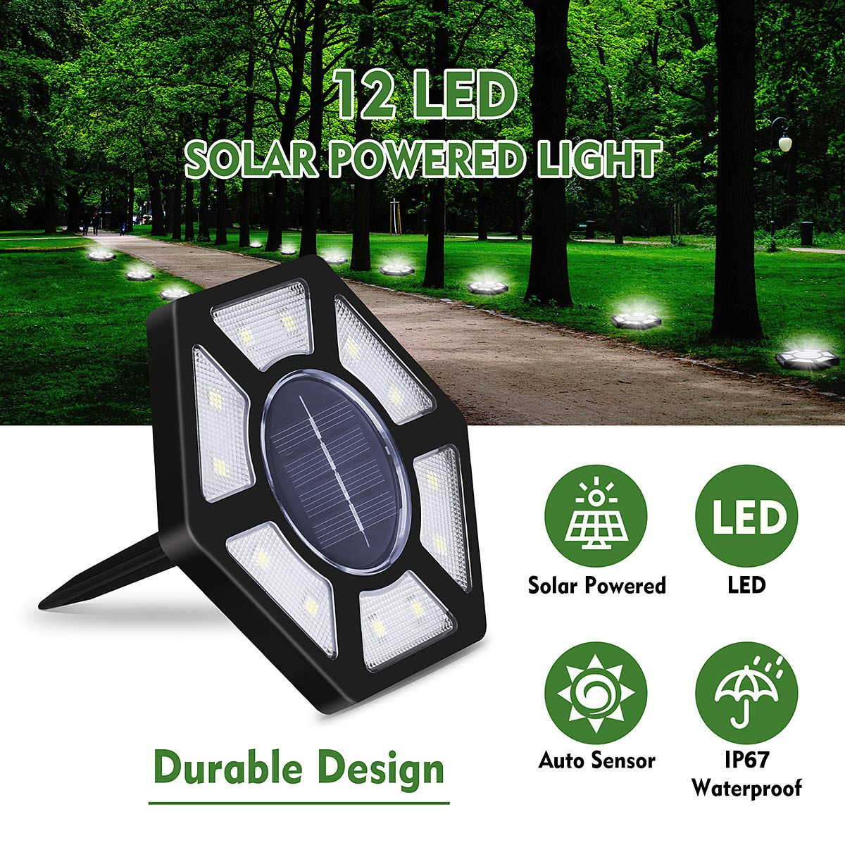 Solar Ground Lights 12 LED Outdoor Solar in-Ground Lights IP67 Waterproof Solar Lights with Light Sensor Solar Powered Landscape Light for Garden Patio Pathway Yard Lawn,4 Packs