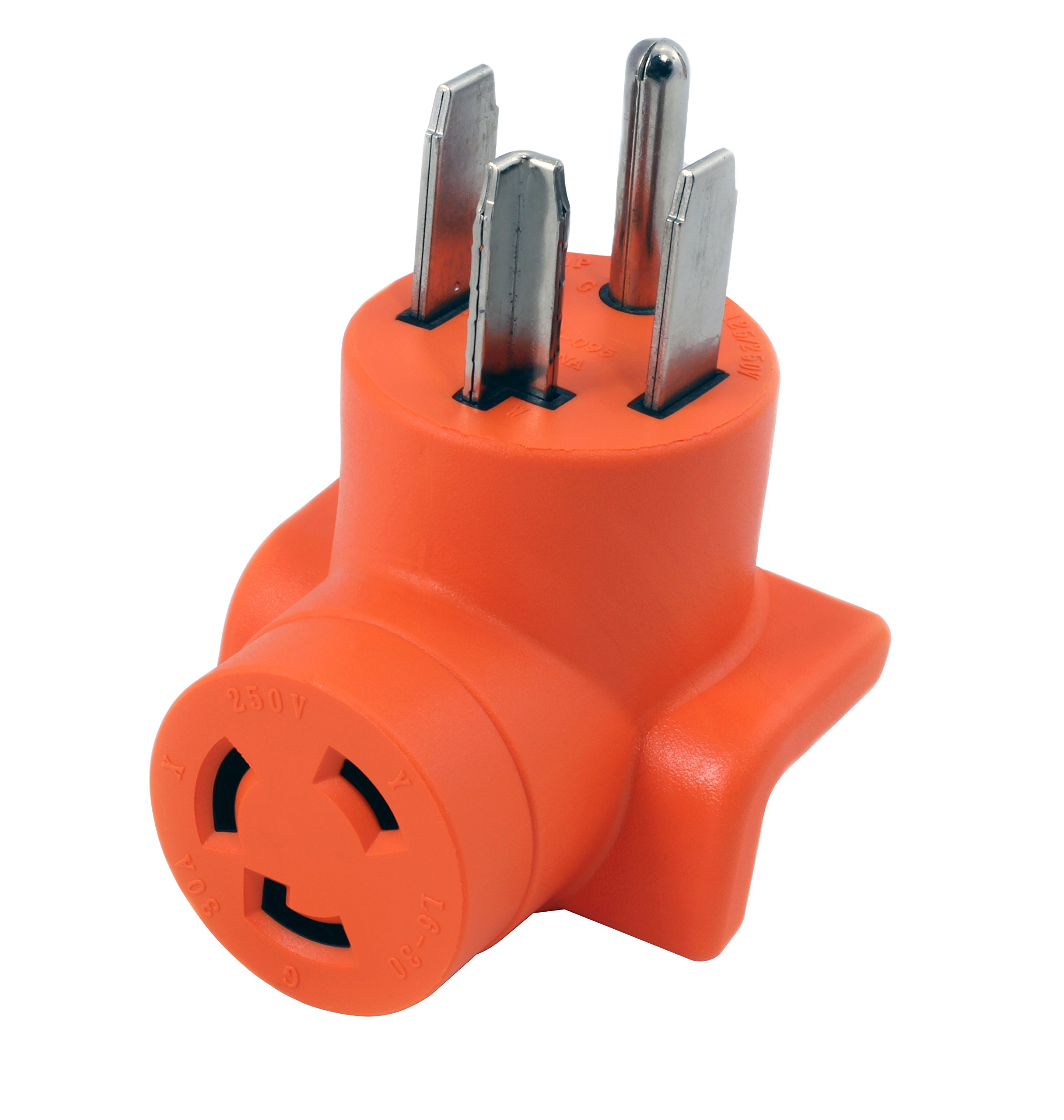AC WORKS [AD1430L630] Plug Adapter NEMA 14-30P 4-Prong 30Amp Dryer Outlet to L6-30R 30Amp 250Volt Locking Female Connector