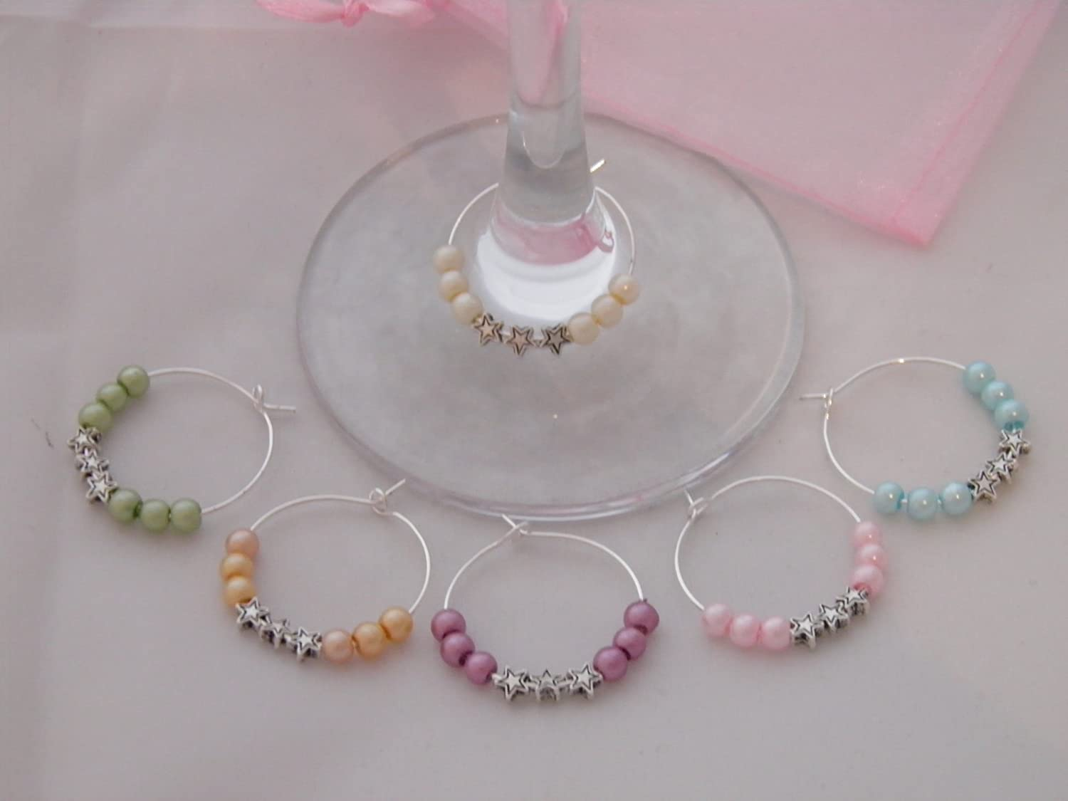 Libbys Market Place Set of 6 Stars Wine Glass Charms with Gift Bag