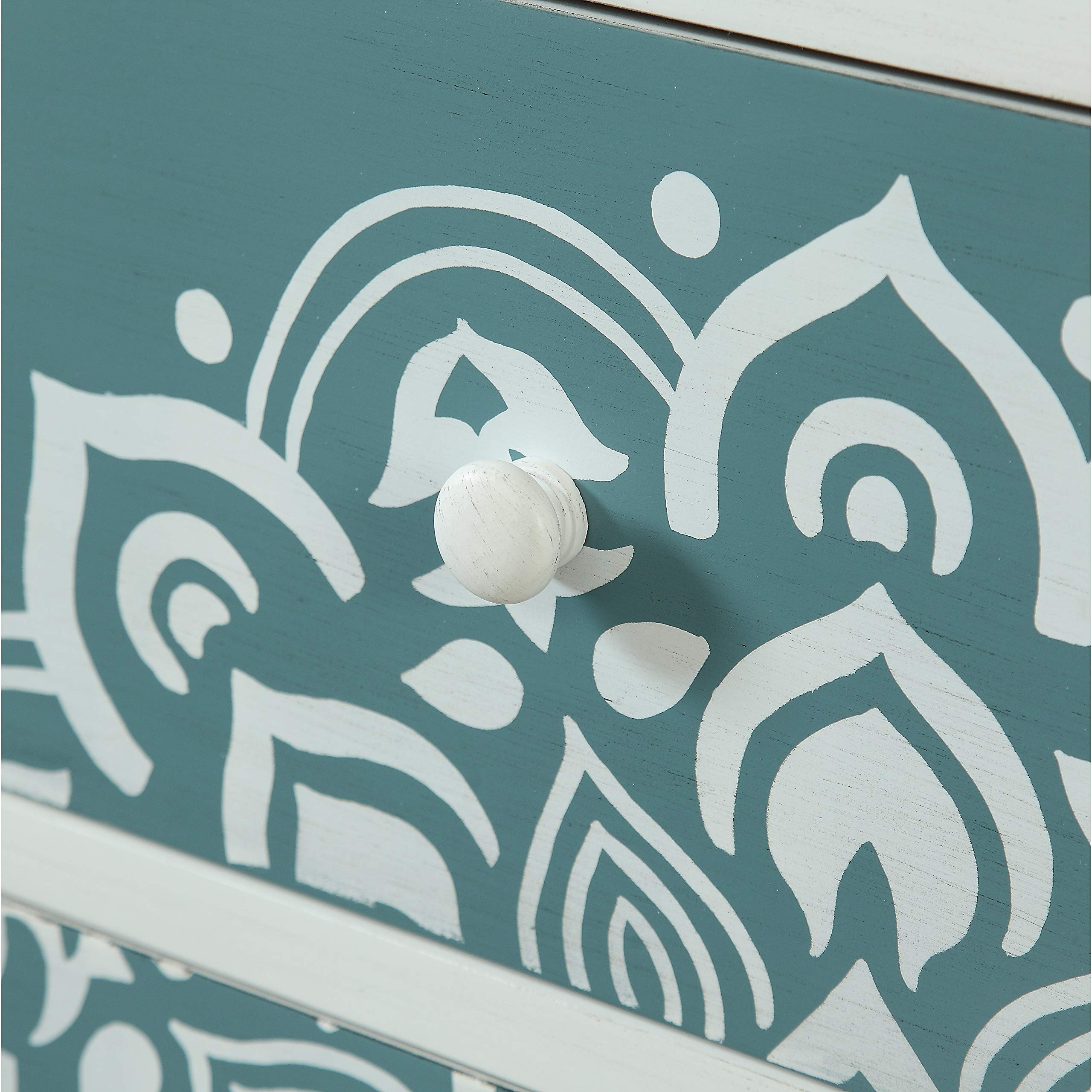Three Drawer Chest White Modern Contemporary Rectangle MDF Painted Drawers by Unknown