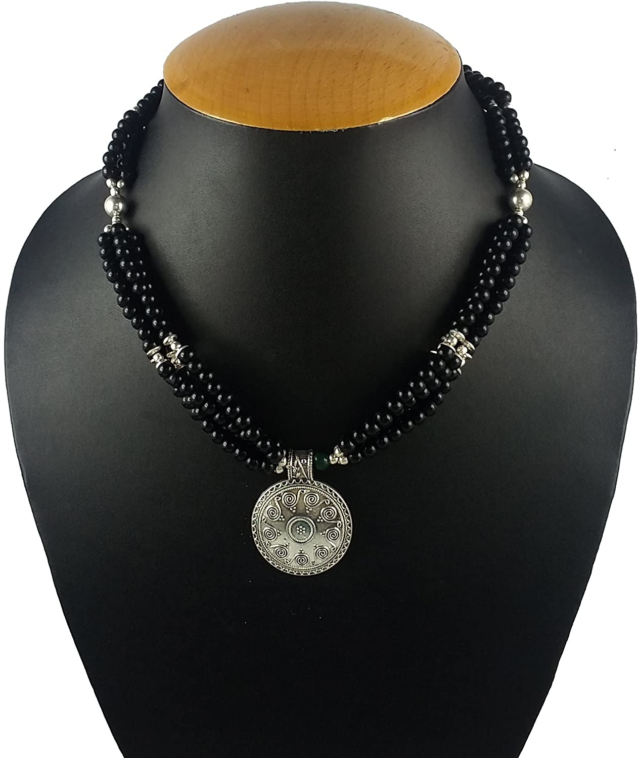 Aradhya Womens Designer German Silver And Black Colour Stone Beads Necklace