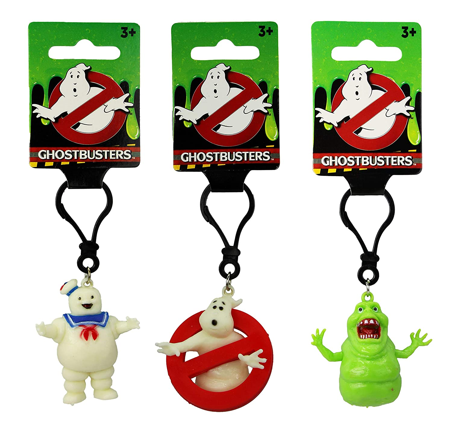 Ghostbusters 5 cm Figure Keyring Set of 3 Logo, Stay Puft Marshmallow Man & Slimer Keyclip