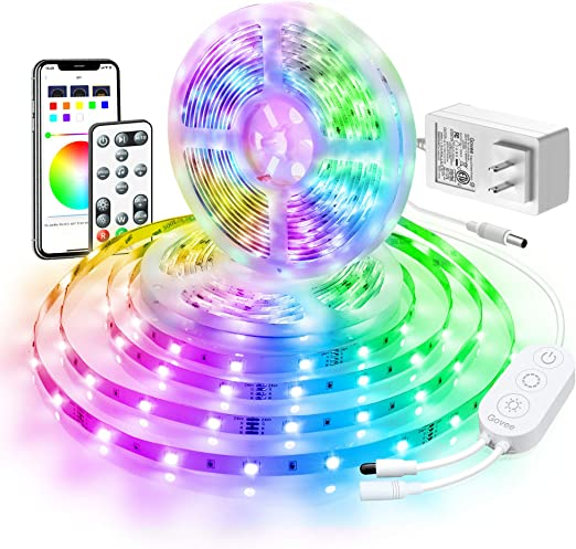 Led Strip Lights 32 8ft Govee Bluetooth Color Changing Rgb Light Strip Music Sync And 7 Scenes With Phone App Remote Control Box Led Lights For