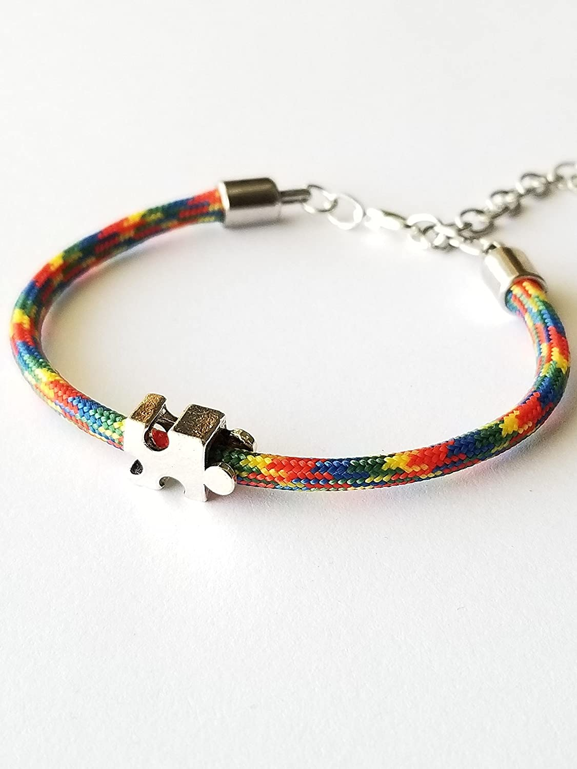 Autism Multi Colored Paracord Bracelet Puzzle Piece Bead 6-8 Inch Gifts For Mom Teacher.