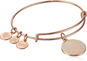 Alex and Ani Womens Words are Powerful, Blessed EWB Bangle Bracelet, Shiny Rose, Expandable