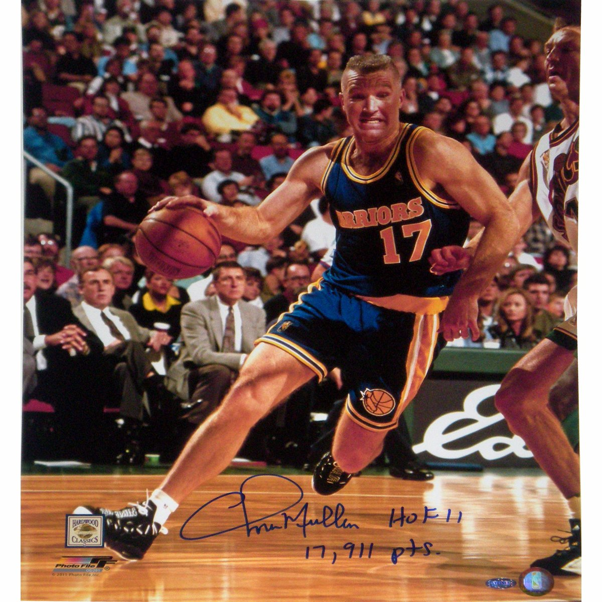 NBA Golden State Warriors Chris Mullin Drive to Basket Right Handed Vertical Photograph with HOF 11 17911 Points Inscription, 16x20-Inch