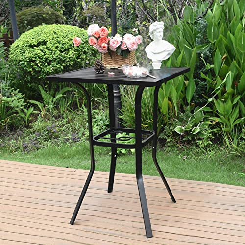 Vicllax Patio Bar Height Bistro Table Patio Dining Table with Umbrella Hole, L28 x W28 x H39 Dark