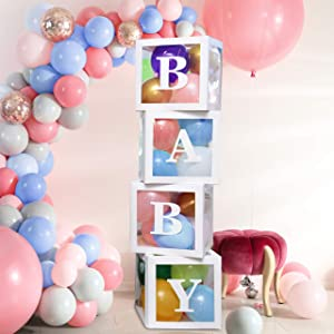Baby Shower Party Decoration Set - Deluxe 60 Piece Balloon Box Kit - Baby Girl and Baby Boy Gender Reveal Backdrop Party Decor - Letters, Balloons, Boxes, Glue Dots Included - Baby Birthday Supplies