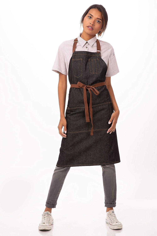 5de1ff8c Chef Works Unisex Memphis Bib Apron, Black, One Size