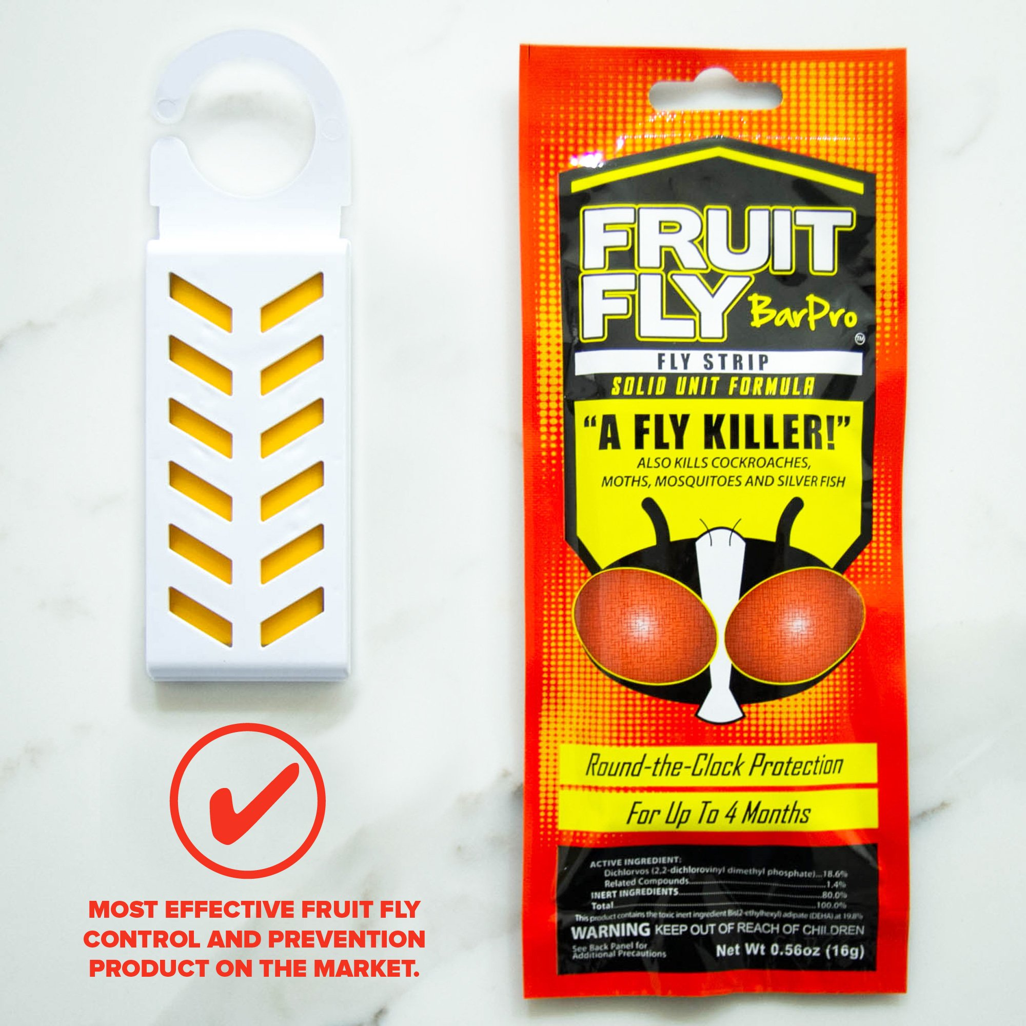 Fruit Fly BarPro Fly Strip – 4 Month Protection Against Flies, Cockroaches, Mosquitos & Other Pests – Portable for Indoor & Outdoor Use (5 Strips, Food Service Pack) by Fruit Fly BarPro (Image #3)