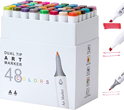 Sketch Drawing Highlighter Pen Darnassus 48 Colors Dual Tip Art Markers Alcohol Based For Adult Coloring Kids Markers Triangular Shape Chisel//Fine Twin Tips