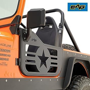 EAG Military Star 2 Tubular Doors With Side View Mirrors 76-96 Jeep Wrangler CJ7 & Amazon.com: EAG Military Star 2 Tubular Doors With Side View Mirrors ...