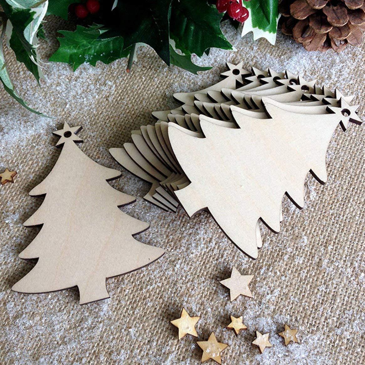 Delicacydex 10pcs / Set Albero di Natale abbellimenti di Legno Albero di Natale Rustico Appeso Ornamento Decor Vuoto Tag Tag Artigianato - Legno