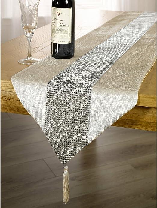 Panache - Mantel / tapete para la mesa con detalles de diamantes y ...