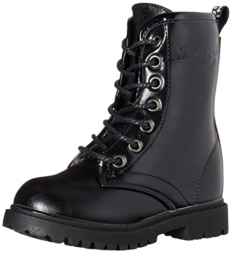 DADAWEN Boy's Girl's Lace-Up Side Zipper Mid Calf Combat Boots-Black ...