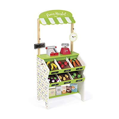 Janod Green Market Wooden Grocery Stand with 32 Accessories Including Cash Register, Produce Scale, and Blackboard for Imaginative Play Ages 3-8: Toys & Games