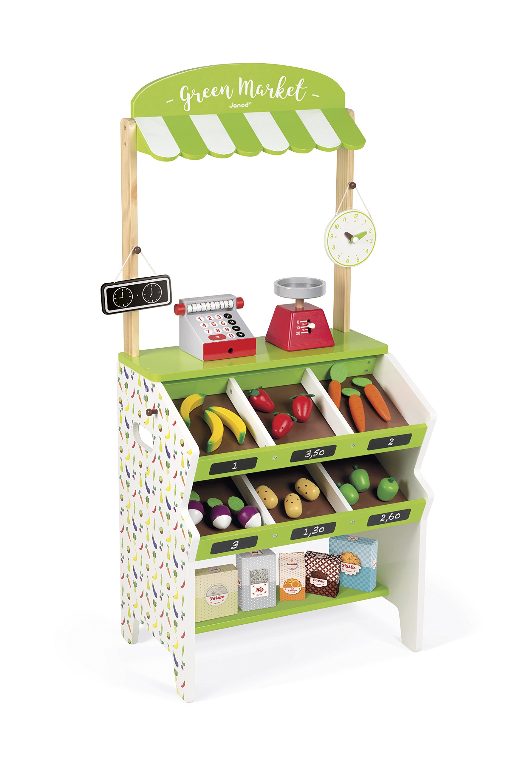 Janod Green Wooden Market Grocery Play Stand with 32 Accessories Ages 3 - 8 by Janod