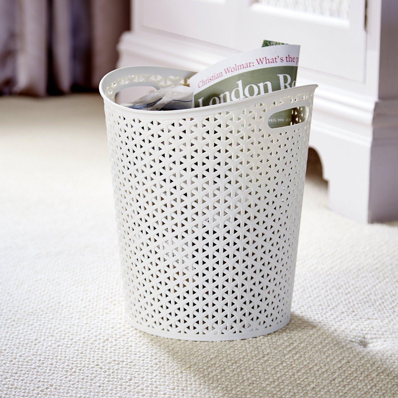 Wolfbush Solid Color Hollow Pattern Waste basket Decorative Design