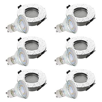 SEBSON® 6x Foco empotrable para baño (IP44), Tipo 10, incl. GU10 bombilla 3,5W LED, Equivale de 30W, Calido Blanca: Amazon.es: Iluminación