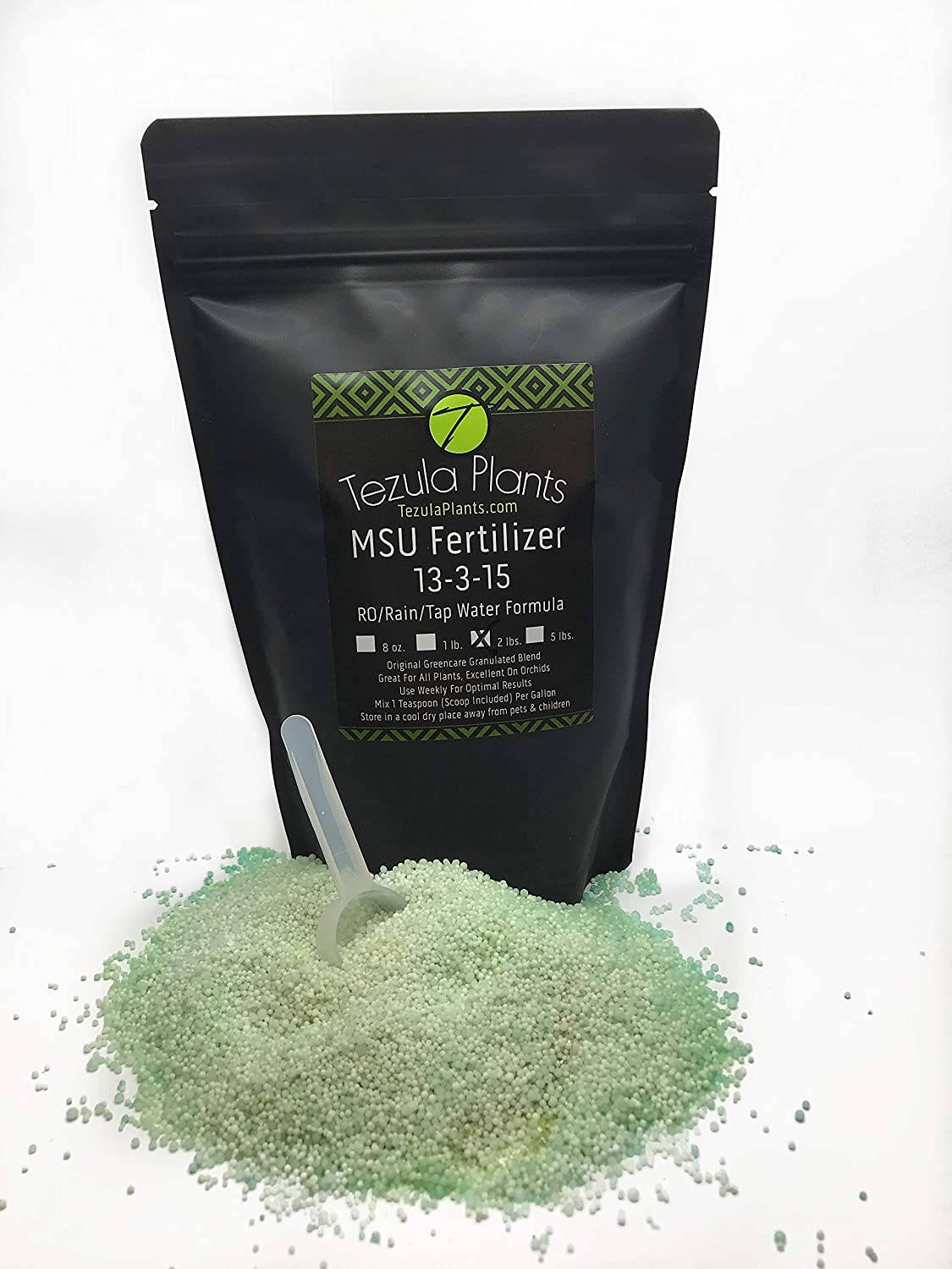 MSU Orchid Fertilizer 13-3-15 (Greencare) Reverse Osmosis, Rain, Tap Water Formula. 2 Pounds, Scoop Included