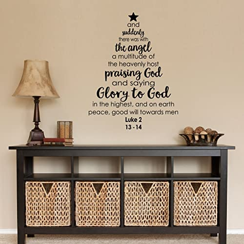 christmas tree bible verse decal holiday decal luke 2 13 14 christmas