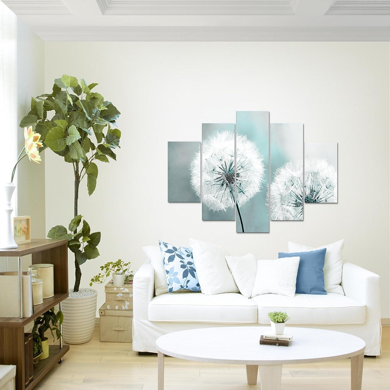 Bilder Blumen Pusteblume Wandbild 150 x 100 cm Vlies Leinwand Bild XXL Format Wandbilder Wohnzimmer Wohnung Deko Kunstdrucke Blau 5 Teilig MADE IN