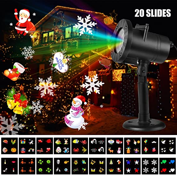 AOWIN Christmas Projector Light, 20 Slides Bright Waterproof LED Outdoor Garden Landscape lamp Holiday Decorative Christmas Lighting Projectors