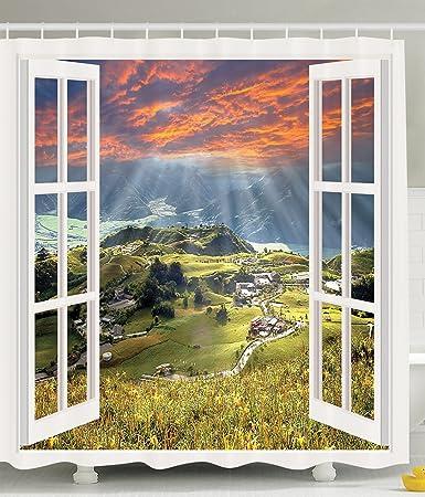 Curtains Ideas cityscape shower curtain : Amazon.com: Cityscape Shower Curtain European Decor Mountain ...