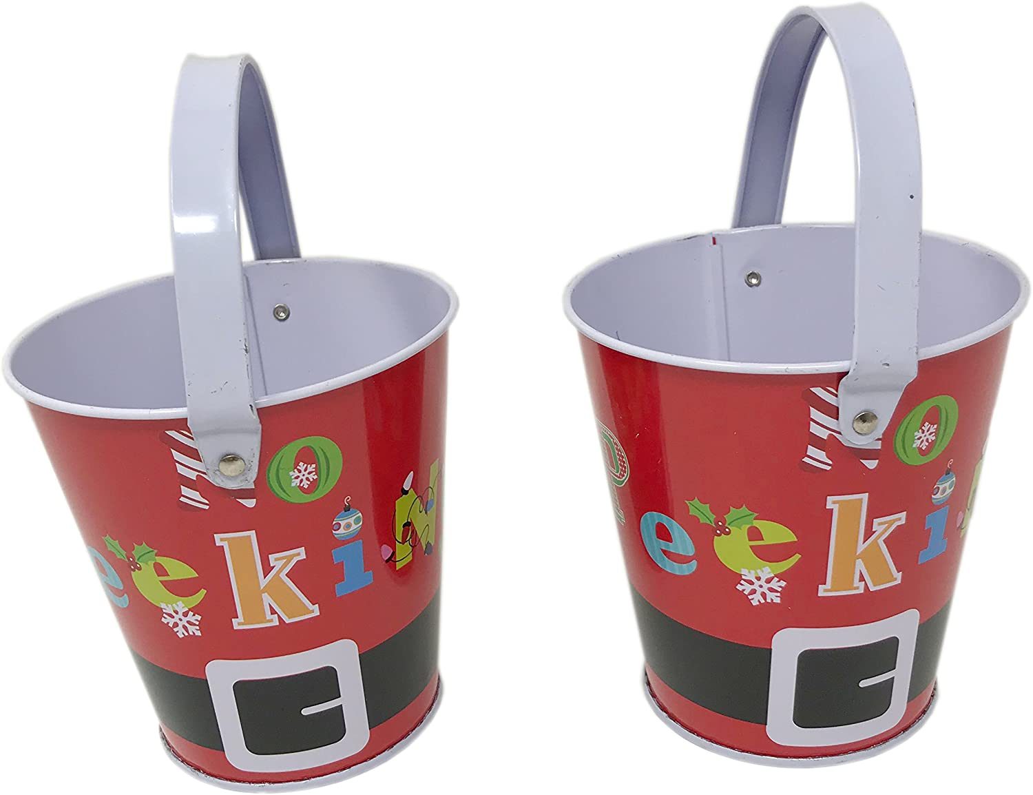 Christmas Prints Metal Buckets, Party Favors, Table Centerpiece, Set of 2, 4