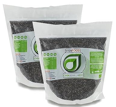 Semillas de Chía ECO Naturales - 2 x 1 kg - Certificado Ecológico - Alta Calidad