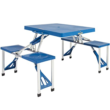Amazoncom Best Choice Products Outdoor Portable Plastic Folding - Teal picnic table